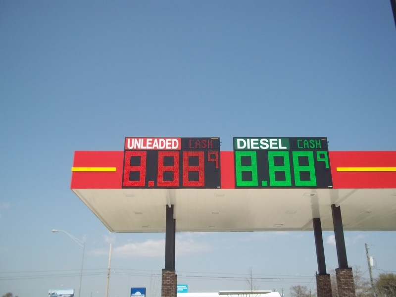 Canopy Mounted L.E.D. Sign